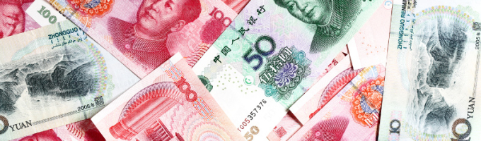 Chinese yuan bank-notes close up