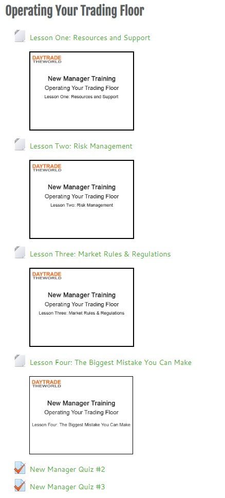 new manager training - operating trading floor