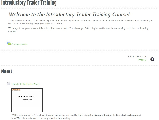 traders training - phase 1